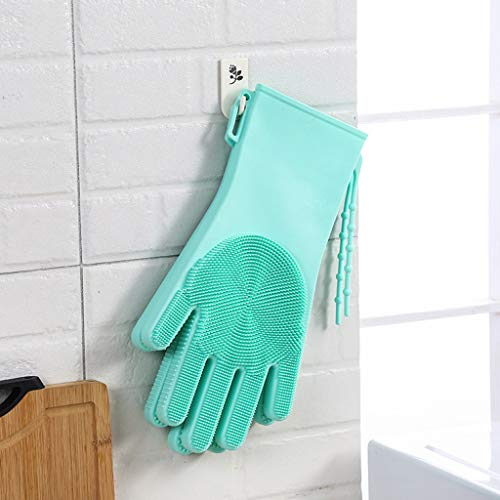 MSOO Magic Silicone Gloves Insulation Gloves Dish Wash Cleaning Brush Pet Hair Care ()