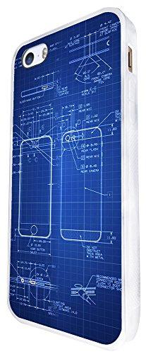659 - Apple Iphone Blue Print Technical Use Design iphone SE - 2016 Coque Fashion Trend Case Coque Protection Cover plastique et métal - Blanc