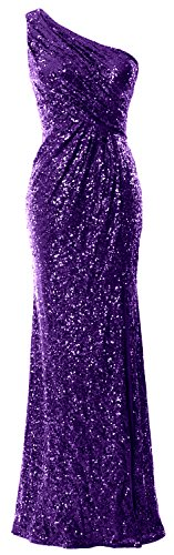 MACloth Women Mermaid Sequin Prom Dress One Shoulder Long Formal Evening Gown Regency rew19