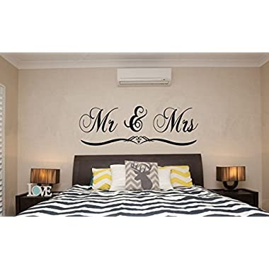 Dnven (Black Large 59 x 20 ) Mr and Mrs Husband and Wife Couples Headboard Bedroom Wall Decals Stickers Arts Decor Home Vinyl Lettering Sayings Quotes Romantic Wedding Anniversary Wall Decals