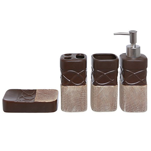 4 piece brown bathroom accessories set with toothbrush for Brown bathroom accessories sets