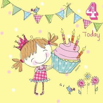 Olive Belle Fille Cupcake Carte D Anniversaire 4 Ans Amazon Fr Fournitures De Bureau