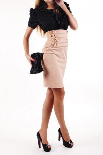 Laeticia Dreams - Falda para mujer, largo de rodillas Beige