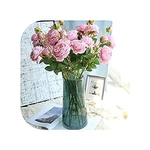 61cm Long Artificial Flower 3 Head Home Silk Peony Wedding Flower Rose Decorative 34