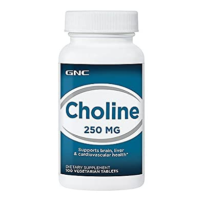 GNC Choline 250mg Brain, Liver & Cardiovascular Health, Tablets, 100 ea