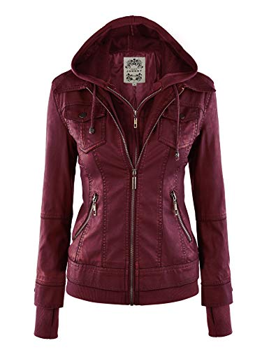 (Made By Johnny MBJ WJC664 Womens Faux Leather Jacket with Hoodie S Wine ...)