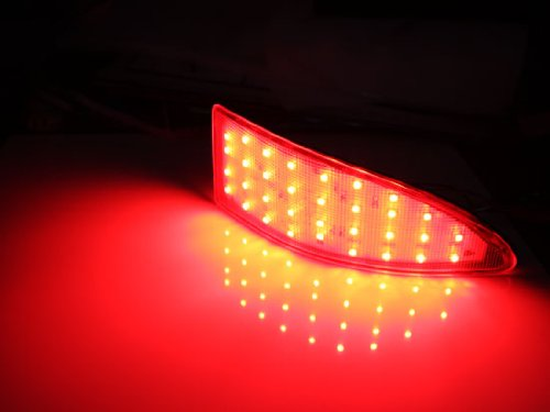Function as Tail /& Brake Lamps iJDMTOY Red Lens 33-SMD LED Bumper Reflector Lights 06-13 for Lexus IS250 IS350