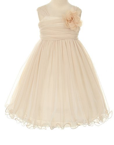 - Kids Dream Big Girls' Special Occasion Double Layer Mesh Dress, 8, Champagne/Ivory