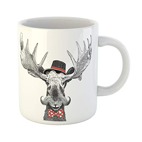 - Semtomn Funny Coffee Mug Valentines Day Cartoon Hipster Moose Large Handlebar Mustache Cool Hat 11 Oz Ceramic Coffee Mugs Tea Cup Best Gift Or Souvenir