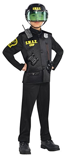 Swat Officer Police Costume, Boy's Size Large, 12-14 - Swat Officer With Helmet Child Costume