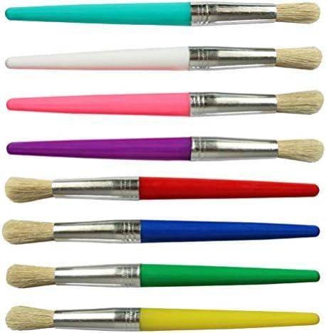 Artibetter ペイントブラシクリエイティブキャンディーカラーラウンドチッププラスチック剛毛油絵ブラシ初心者アーティストキッズ用、8ピース
