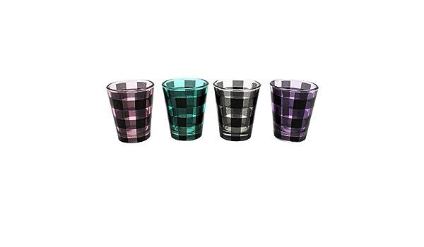 1.5 oz TMD Holdings Buffalo Plaid Stack Shot Glasses Set of 4 Multicolored