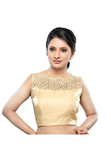 Saris and Things Gold Fancy Back Open Ready-made Saree Bl...
