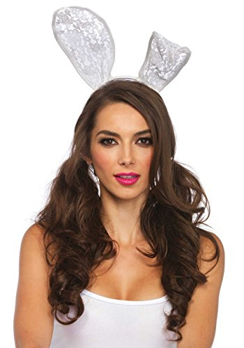 Leg Avenue Women's Bunny Ear Headband Costume Accessory, White, One Size ()