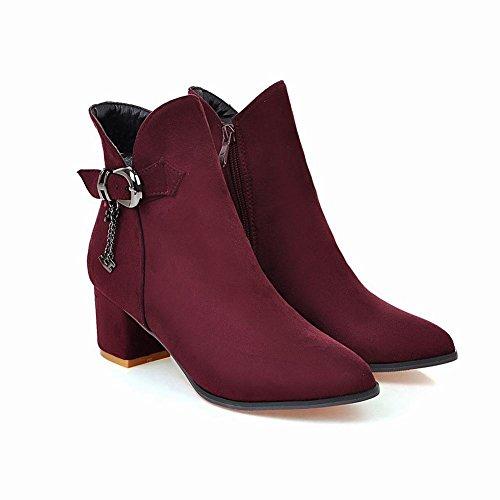 Mid Buckle Boots Heel Zip Short Carolbar Red Wine Women's Elegant pZBXf0