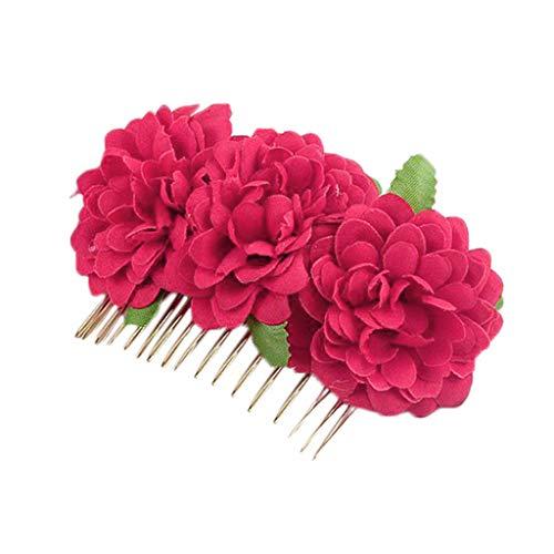 (Riverdalin Women Hair Comb Flower Hair Pins Headpiece Hair Accessories Headwear Princess Jewelry for Brides & Girls (Hot Pink))