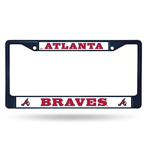 Rico Atlanta Braves MLB Navy Painted Chrome Metal License Plate Frame