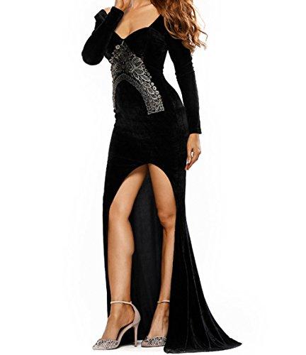 YeeATZ Elegant Lace Embroidery Accent High Split Black Velvet Dress(Size,S)