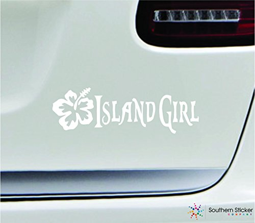 Island girl hibiscus flower 7x2.2 white tropical ocean beach sand sea hawaii united states america color sticker state decal vinyl - Made and Shipped in USA