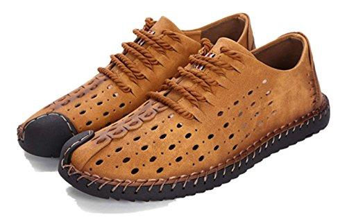 uomo Giallo casual da in grandi Hole particolare scarpe di pelle in taglia di formato allacciano Bebete5858 dimensioni grande le Mocassini Lace 46 SHqUT