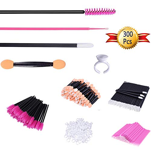 uFahsion3C 5 In 1 Set of Disposable Makeup Applicators (300 Pcs) - Includes Mascara Brushes, Micro Eyeliner Brushes, Eyeshadow Applicators, Lipstick Wands, Glue Cup Rings