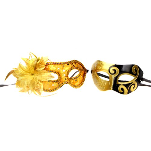 Couples Pair Mardi Gras Venetian Masquerade Masks Set Party Costume Accessory (gold) (Gold Mardi Gras Mask)