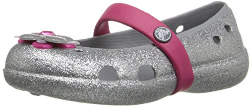 Crocs Keeley Glitter Spring PS Mary Jane Flat (Toddler/Little Kid), Silver/Raspberry, 6 M US Toddler - Kid Express Girls Mary Janes