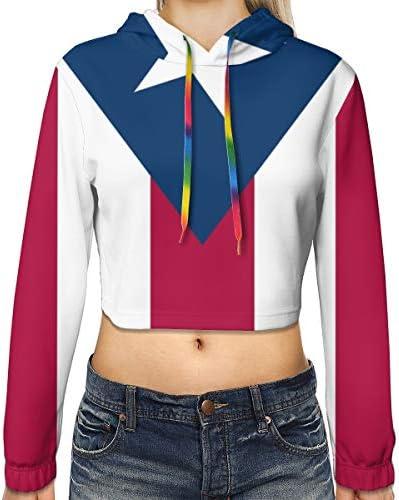 プエルトリコの旗の女性のカジュアルな長袖カラーブロックプルオーバースウェットシャツクロップトップスポーツジムオフィススクール