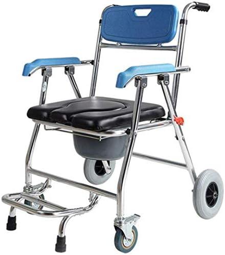 高齢者の車いすシャワーチェア用トイレの便器、4つのブレーキの車輪とアームレスト付きPUトイレ、バケット、