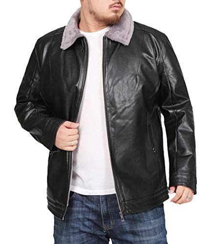 Cromoncent Mens Big and Tall Winter Fleece Faux Fur Collar Faux Leather Jacket Outerwear Coat