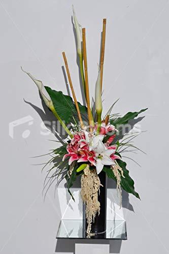 Silk Blooms Ltd 人工ピンクとホワイトオリエンタルユリとトラケリウム花瓶アレンジメント 女神ユリと竹 B07H8GD7F8