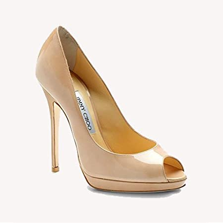 84236532c75 Jimmy Choo Quiet Patent Leather Peep-Toe Pumps Nude: Amazon.co.uk ...