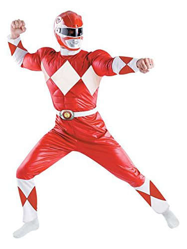 Disguise Men's Saban Power Rnagers Mighty Morphin Red Ranger Classic Muscle Costume, Red/White, X-Large -