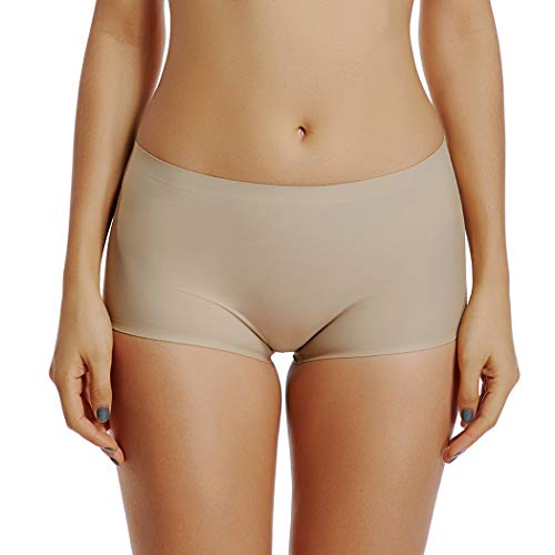 Seamless Shaping Boyshorts Panties for Women Tummy Control Mid Waist Shapewear Underwear (Nude-Seamless Low Waist, M)