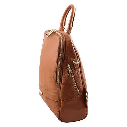 In Tlbag Cognac Zaino Morbida Blu Pelle Tuscany Donna Leather Scuro l31TcJ5uFK
