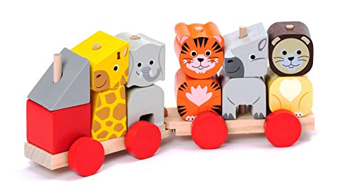 Stacking Train Baby Toy Set Wooden Puzzle Blocks Eduacational Classic Push Pull Toddler Toy Ages 2 years and up by CRUISTORE