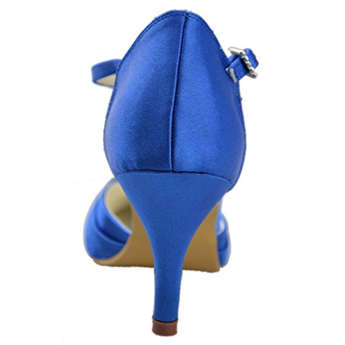 Heel Wedding Party GYAYL300 Evening Minitoo Satin Strappy Ruched High Bridal 7cm Heel Womens Shoes Blue Yqdqw86