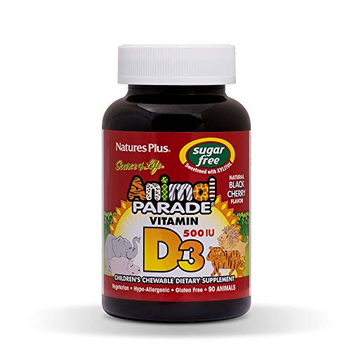 Natures Plus Animal Parade Sugar-Free Childrens Vitamin D3-500 IU - Black Cherry Flavor - 90 Chewable Animal Shaped Tablets - Bone Health & Immune System Support Supplement - 90 Servings