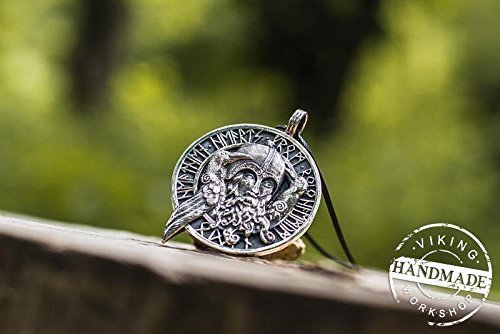 Odin Allfather with Huginn and Muninn Necklace Viking Amulet Sterling Silver Scandinavian Pendant by Viking Workshop