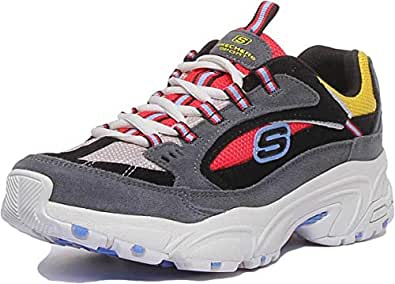 Skechers Stamina Lace Up Cross Road Trainer Charcoal