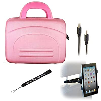 eBigValue PINK Hard Shell Nylon Cube Carrying Case For ViewSonic ViewPad 10e 10pi E100 Tablets + Auxiliary Cable + Car Headrest Mount