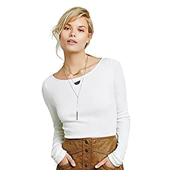 Free People Women's Mara Ribbed Boat-Neck Top (XS, Ivory)