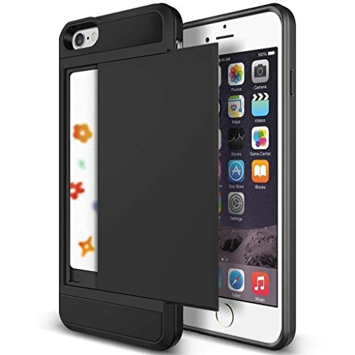 iPhone 6s Case, Anuck iPhone 6 Wallet case [Anti Scratch][Heavy Duty][Card Pocket] Hard Shell Dual Layer Hybrid Rubber Bumper Protective Card Case Cover for Apple iPhone 6 iPhone 6s 4.7 inch - Black
