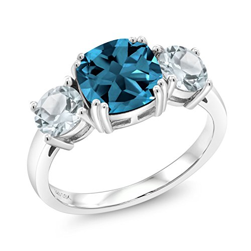 Gem Stone King 3.54 Ct Cushion London Blue Topaz Sky Blue Aquamarine 925 Sterling Silver Meghan Ring (Size 9)