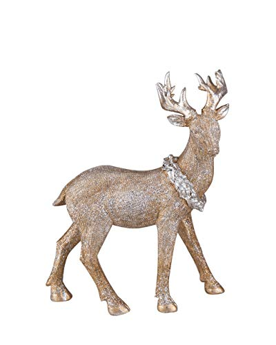 Transpac Imports D0663 Large Resin Golden Glitter Reindeer Figurine, Gold