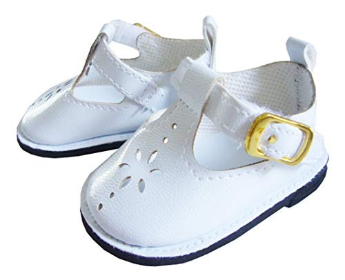 White T-Strap Shoes for 18