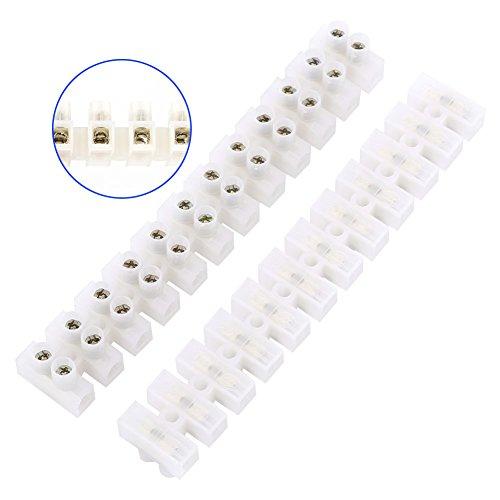 10Pcs 360V 10A Dual Row Screw Terminals Electric Barrier 12-Position Terminal Strip Block