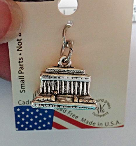Sterling Silver 3D 12x15x13mm Lincoln Memorial Building in Washington DC Charm Jewelry Making Supply, Pendant, Sterling Charm, Bracelet, Beads, DIY Crafting and Other by Wholesale Charms
