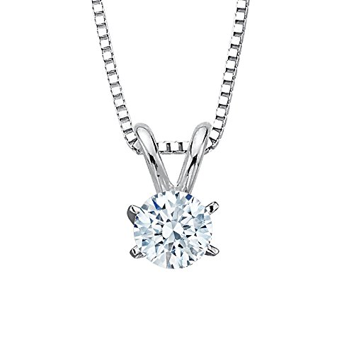1 ct. L - VS1 Round Brilliant Cut Diamond Solitaire Pendant Necklace in 14K White Gold