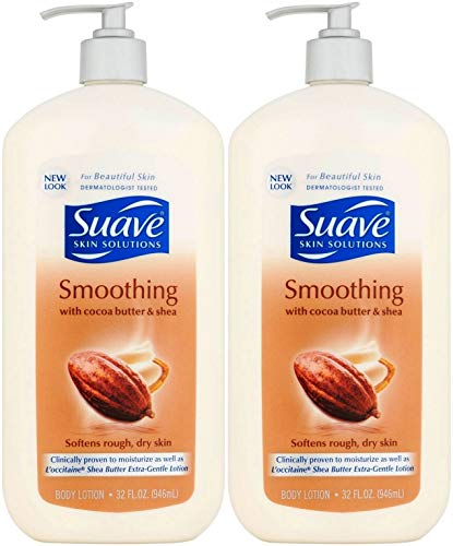 Suave Skin Solutions Smoothing Body Lotion with Cocoa Butter and Shea, 32 Ounce (Pack of 2)